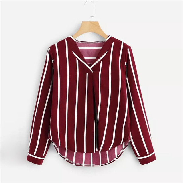 Stripe Shirt Women's Tops And Blouses  3