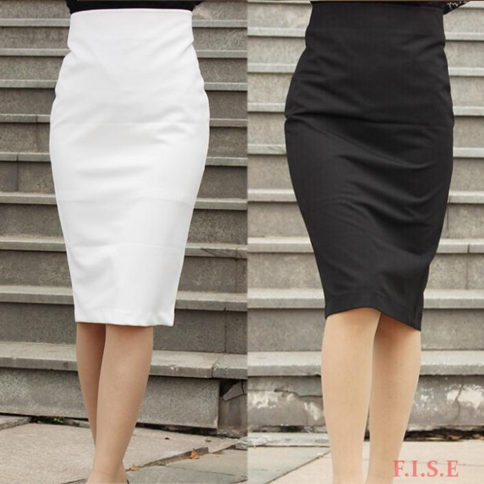 Women Business Suit Office Skirt Black Knee Length Vintage High ...