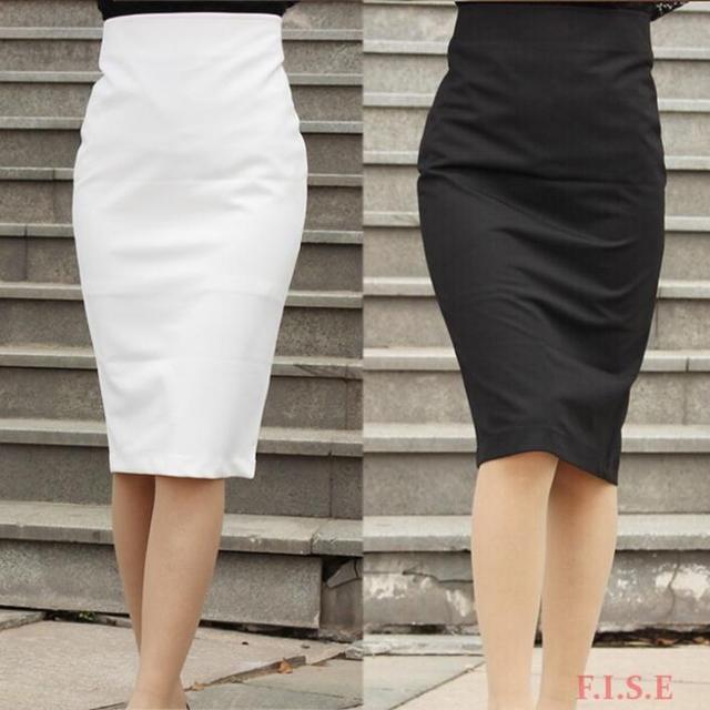 Women Business Suit Office Skirt Black Knee Length Vintage High Waist Pencil Las Clic Design
