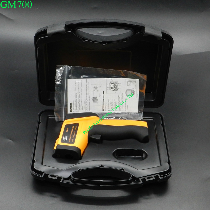 ФОТО GM700 IR Infrared Thermometer  Newest 100% Non-Contact IR Laser Infrared Digital Thermometer -50-750 Degree With Carry BOX