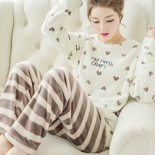 Coral fleece flannel pajamas female long sleeved lady thickened suit winter peach cartoon Home Furnishing wholesale