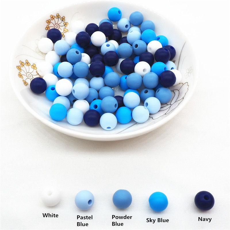 Chenkai 100pcs 9mm 12mm 15mm BPA Free DIY Silicone Teether Pendant Beads Baby Pacifier Dummy Jewelry Sensory Toy Blue Series