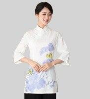 Elegante Verão Fêmea Branca Camisa Top Hot Sale China Estilo de Algodão Das Senhoras linho Blusa Mujer Camisa Tamanho S M L XL XXL XXXL 2393-1