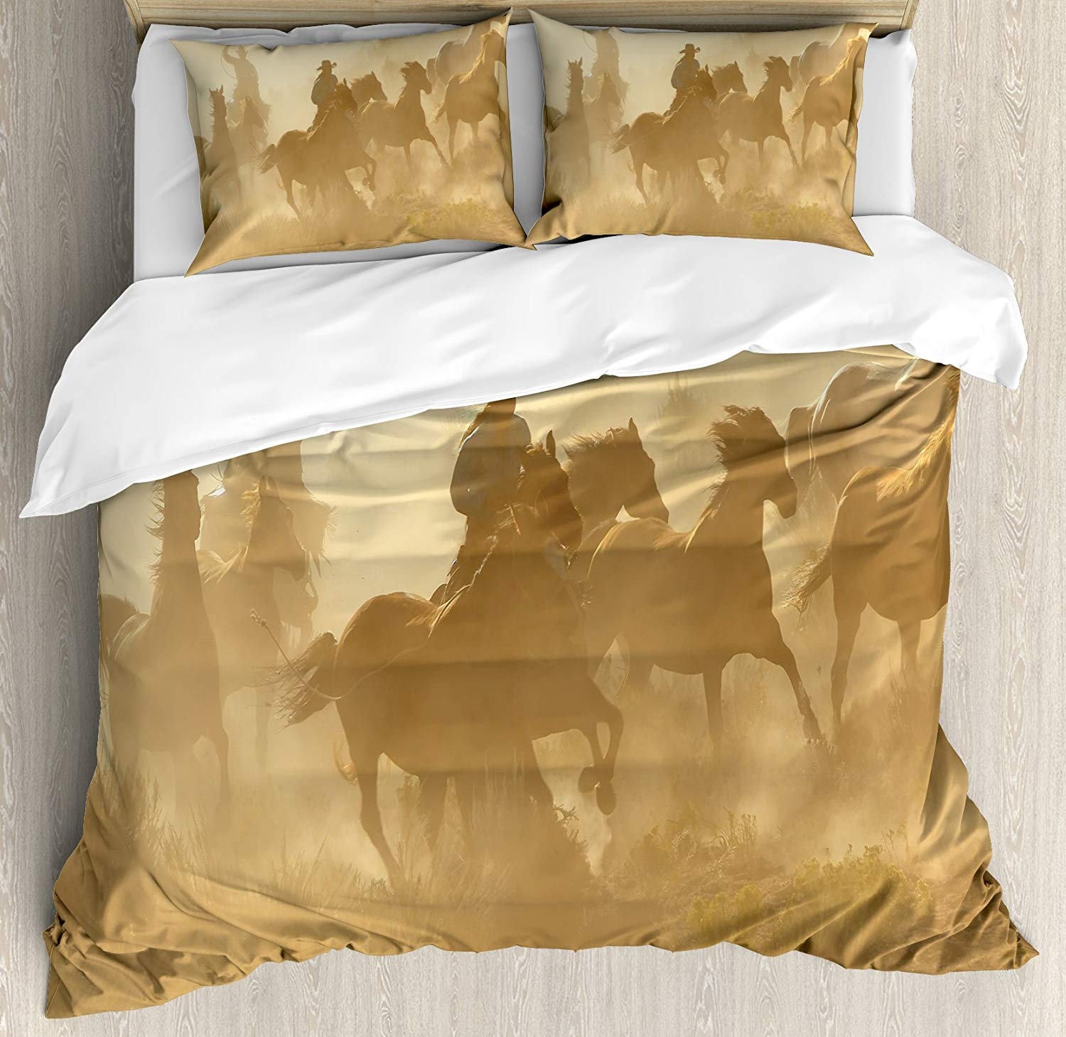 Western Duvet Cover Set King Size Galloping Running Horses Desert Two Cowboys Roping Wild Rural Countryside Bedding Set Brown