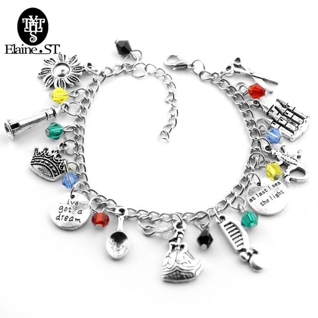 Tangled Rapunzel Charm Bracelet With Crown Comb Scissors Castle Gecko Pendant Gl Beads Friendship Lover