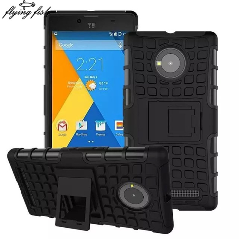 Micromax Yu Yuphoria Case TPU+PC Bombo Shockproof Hybird Kickstand Armor Case Cover