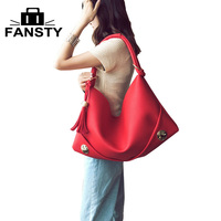 2017 Winter New Korean Fashion Tassel Women Handbag Bag Over Shoulder Large Capacity Hobos PU Leather Bag for Young Female Lady