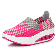Women dancing shoes fitness slimming sneakers female 2018 Spring Elastic band woven salsa dance shoes outdoor