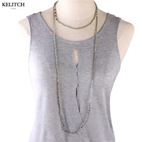 KELITCH Jewelry Good Quality Natural Crystal Beaded Necklace Handmade Long Multilayers Beach Necklace For Women Gifts