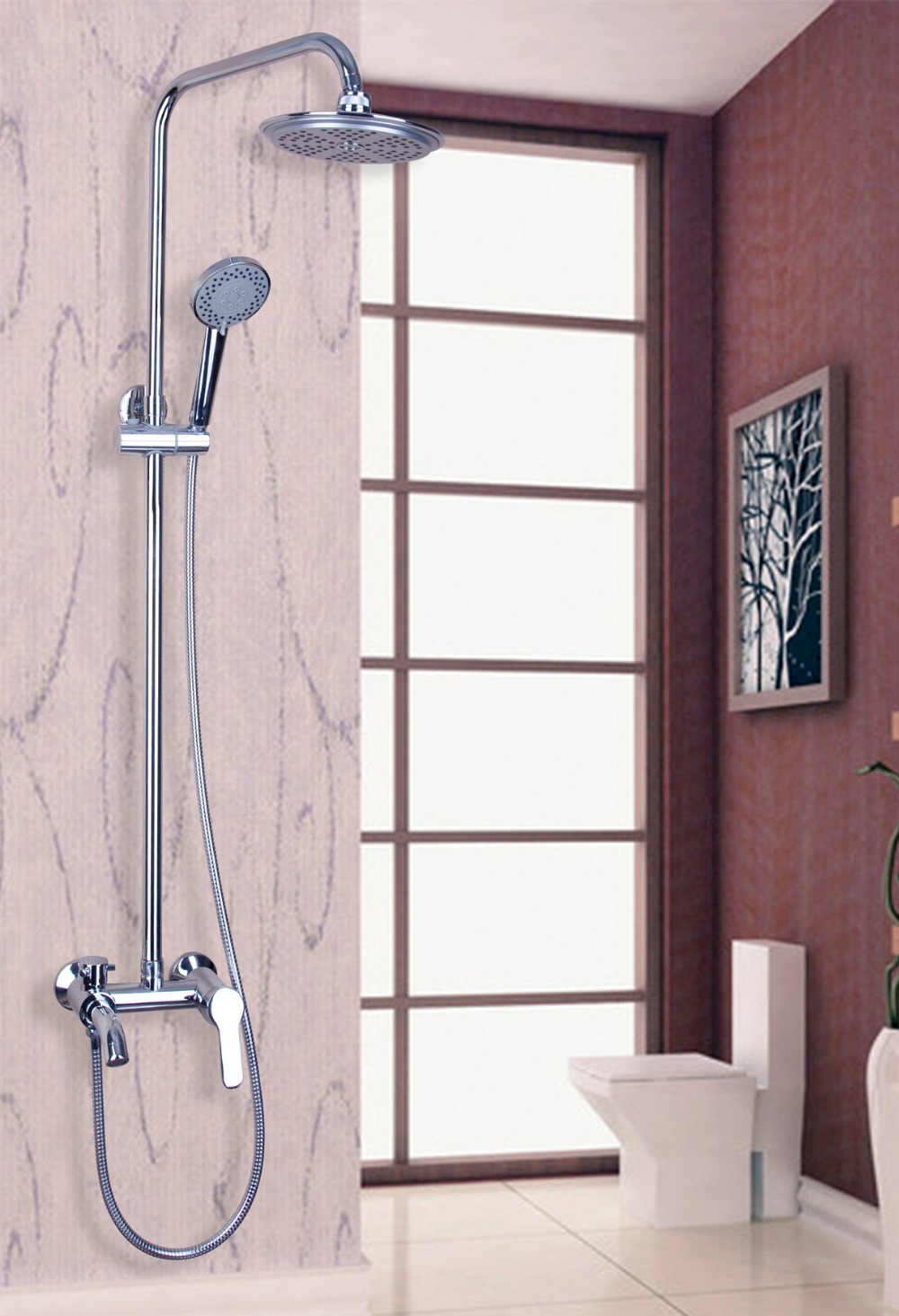 High Quality Polish Chrome Single Handle Adjustable Height Wall Mounted With the Shower Head Set Faucets