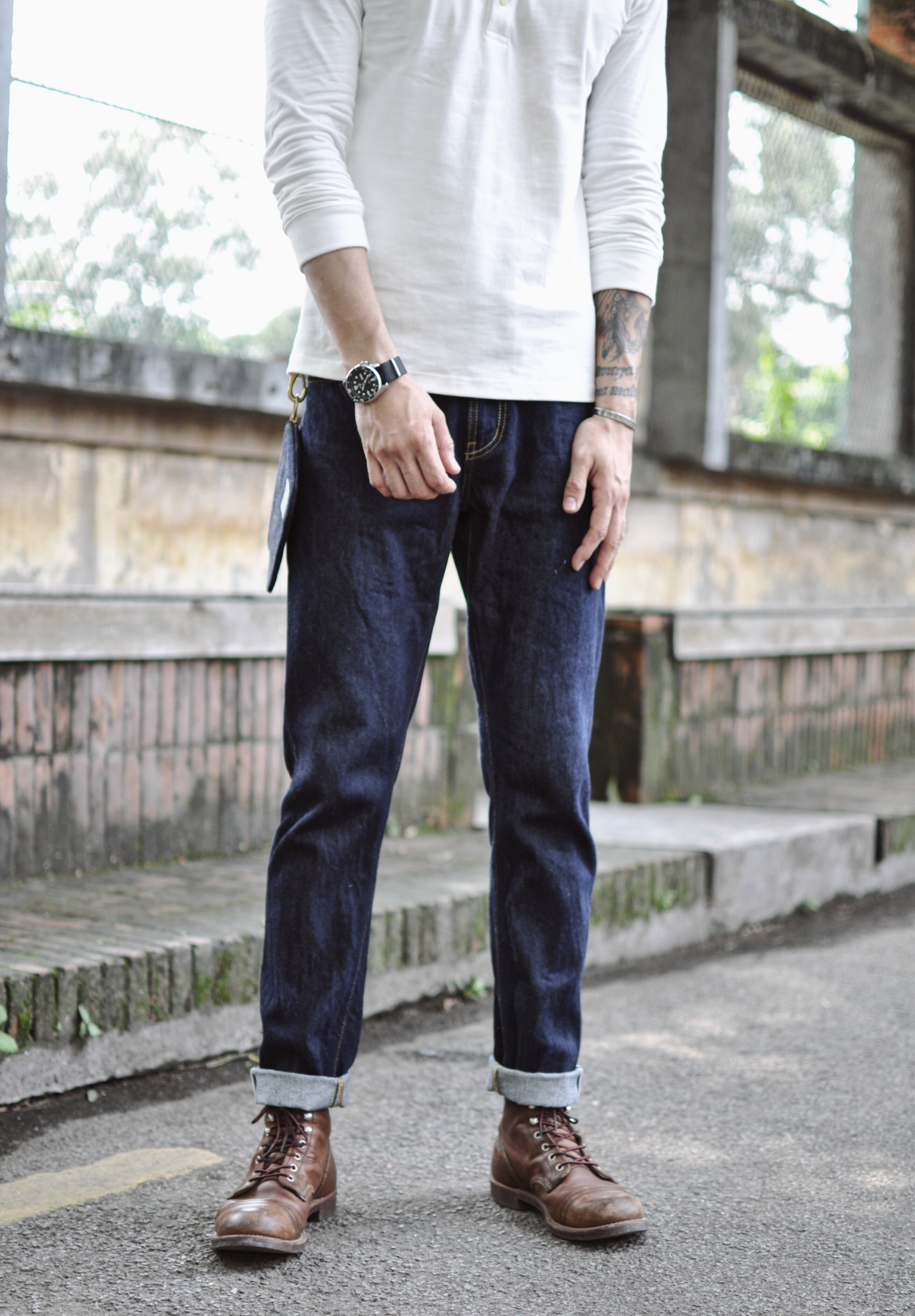 Men Selvedge Denim Indigo Slim-Fit Jeans