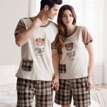 Free Shipping Summer and Autumn 100% Cotton  Short Sleeve Cartoon Bear Lovers Sleepwear Sets 01