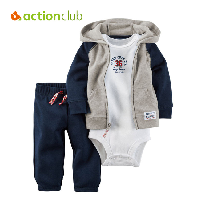 Actionclub Baby Bodysuit Set Full Sleeve Baby Boys And Girls 3PCS Bodysuit Clothing Newborn Baby Clothing 3- 24 Months Clothes