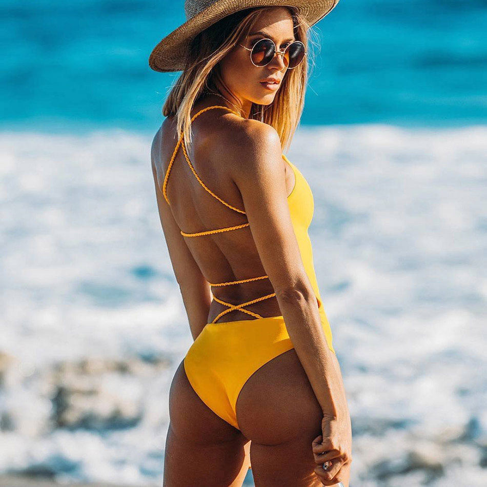 Badeanzug 2017 Sommer Blau Schwarz Sexy Kreuz Halter Bademode Women Solide Badeanzüge Strand Tragen Schwimmen Backless Badeanzug