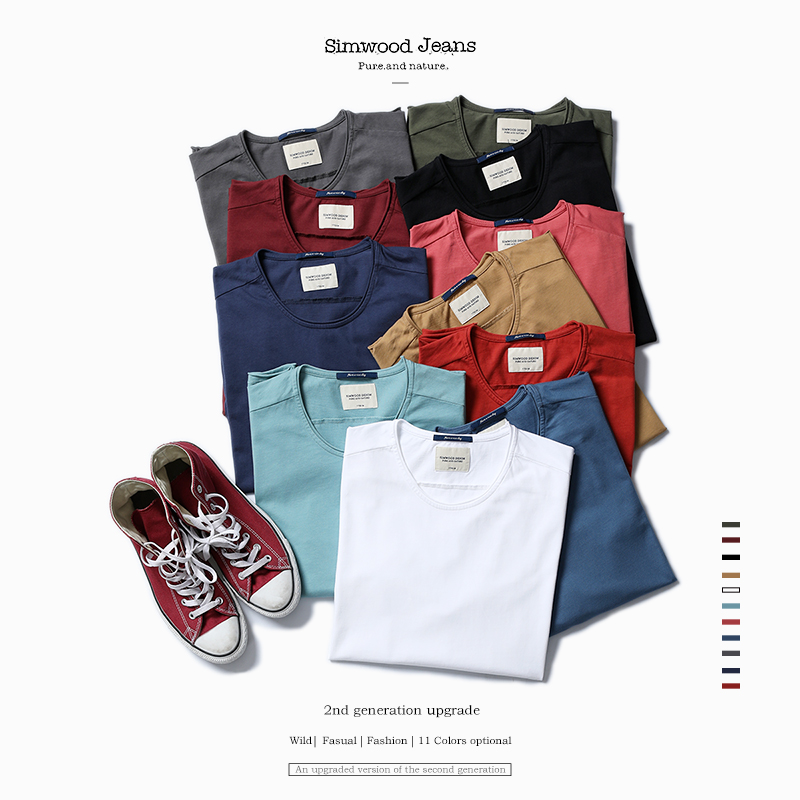 SIMWOOD 2020 New Arrival  Spring Long Sleeve T Shirt  Men Causal Fashion Young 100% Cotton  T Shirts Tops Tees Plus Size  TL3505
