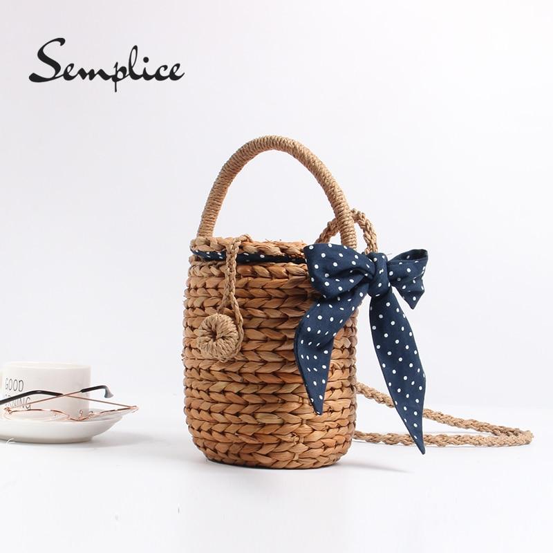 Women Bohemian Straw Bags Ladies Small Beach Weave Handbag Tote Handmade Summer Wicker Basket Ribbons Rattan Holiday Travel Ins