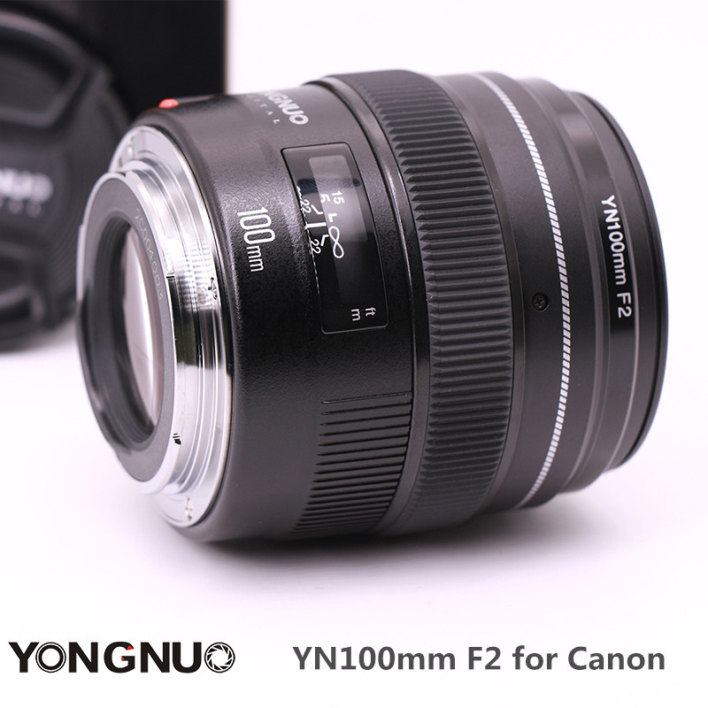 Ulanzi YONGNUO YN100mm F2 Medium Telephoto Prime Camera Lens Fixed Focal Length Aperture F/2-F/22 for Canon EOS Rebel AF MF mf2300 f2