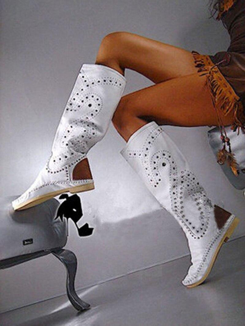 Femmes Rivets cloutés ceinture appartements genou bottes hautes jaune daim cuir automne bottes de débarras bout rond talon plat femme Botas chaussures