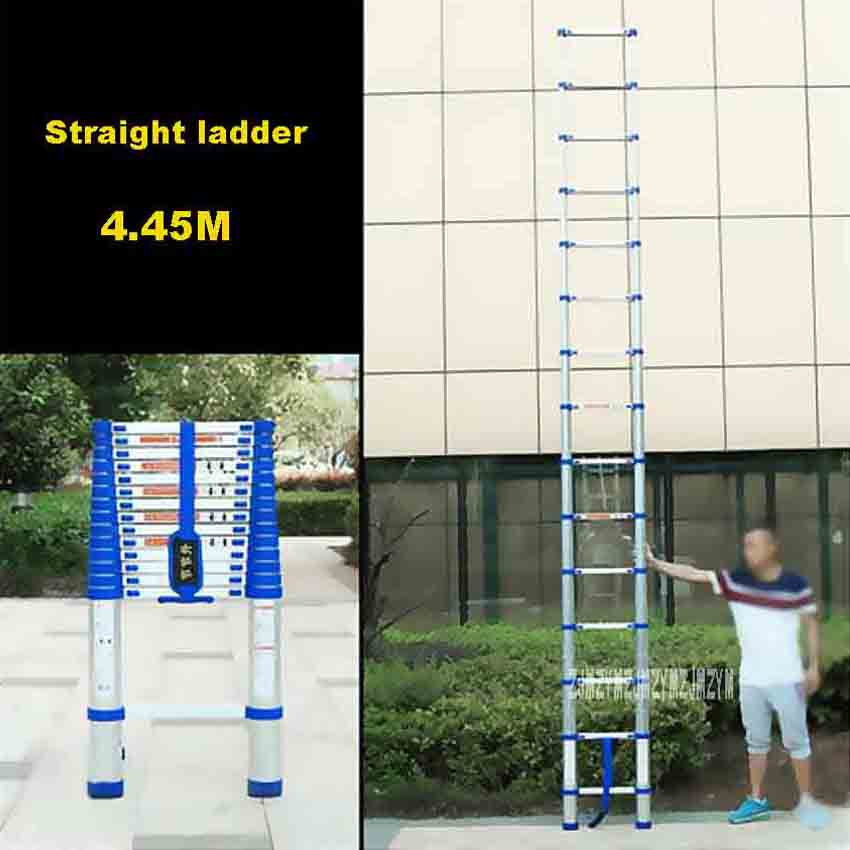 New Arrival Portable 4.45M Straight Ladder JJS511 Household Extension Ladder Thicken Aluminium Alloy Single-sided 15-Step Ladder