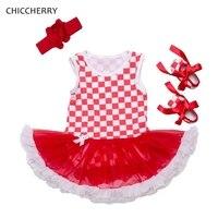Red White Lattices Baby Girl Dress Summer 3pcs Toddler Lace Romper Headband Shoes Vestido Infantil Bebe