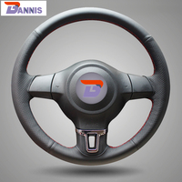 Black Artificial Leather DIY Hand Stitched Steering Wheel Cover For Volkswagen Golf 6 Mk6 VW Polo