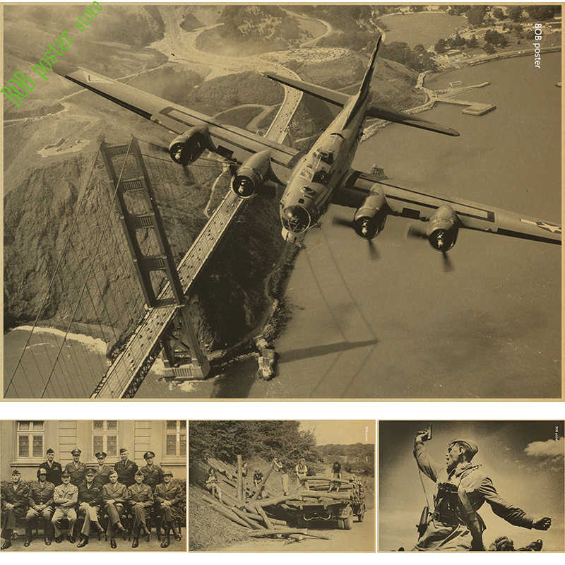 World War II Plane classic Photo vintage poster retro wall sticker print painting cafe bar home decoration posters