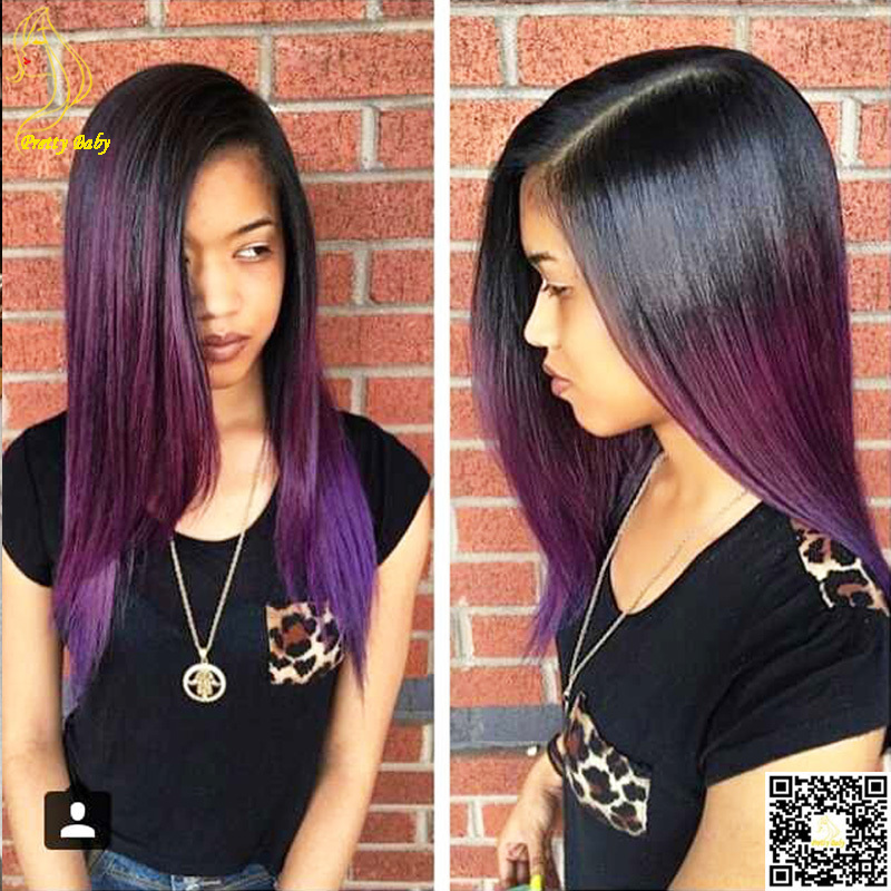 purple ombre u part human hair wig silky straight virgin