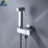 Single Cold Water Corner Valve Bidet faucets Solid Brass square Hand Shower Head Tap Crane 90 Degree Switch