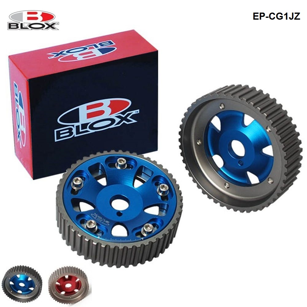 2Pcs Adjustable Cam Gears Pulley Timing Gear for Toyota For Supra 1JZ 2JZ,TE IN & EX (Red,Blue) EP-CG1JZ