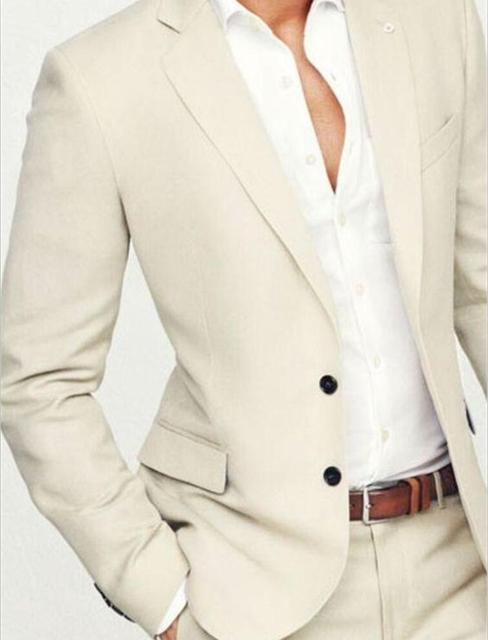 2016 New Arrival Summer Groom Tuxedos Men's Wedding Prom Beach Suits Beige Best Man Groomsman Suit 2 Pieces (Blazer+Pants)terno