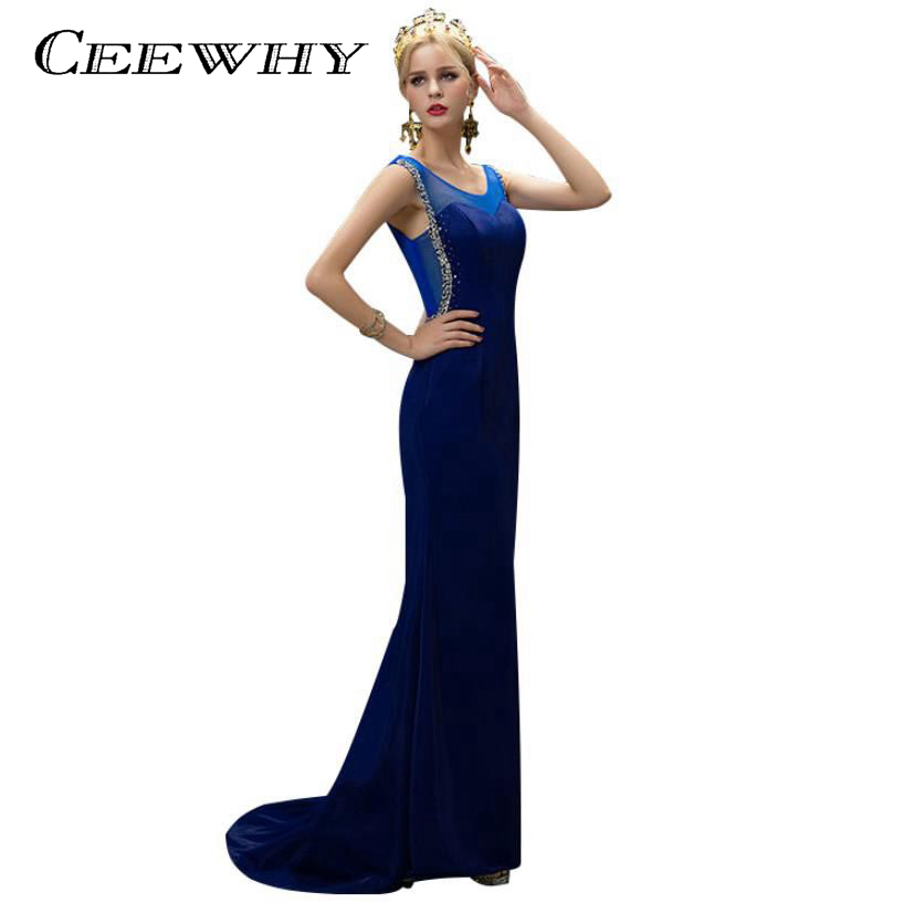 CEEWHY Taffeta Robe De Soiree 2017 Court Train Women långa kvällsklänningar Bride Bankett Elegant Golvlängd Mermaid Prom Dress