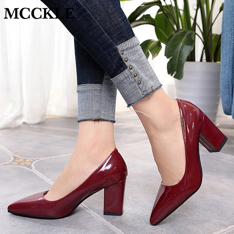 MCCKLE Women Summer Elegant Plus Size Pumps Ladies Pointed Toe Shallow Slip On High Heels Wedding Shoes Thick Heel Footwear sequined high heel stilettos wedding bridal pumps shoes womens pointed toe 12cm high heel slip on sequins wedding shoes pumps