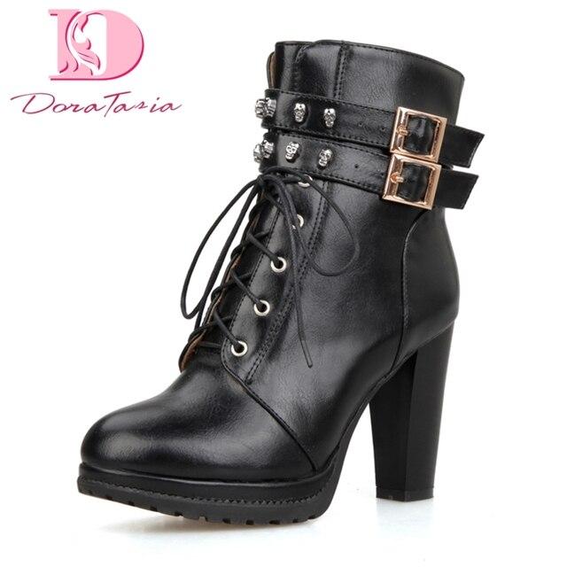 Doratasia najwyższej jakości skóra pu w stylu punk buty motocyklowe kobieta buty modne szpilki botki damskie buty