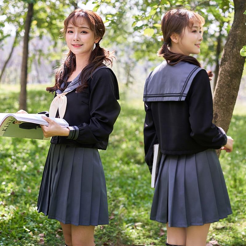 UPHYD Hexagonal Star Japanese Sailor School Uniform Black Orthodox Women High-Quality School Uniforms Long Sleeve