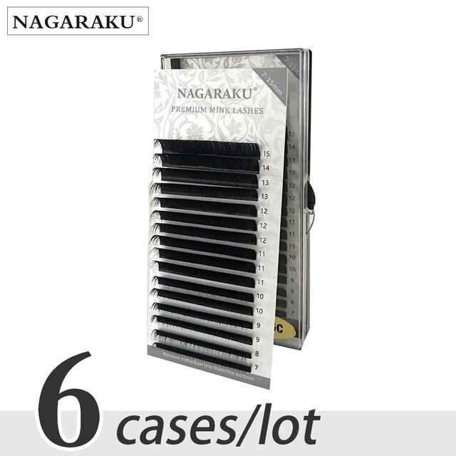 NAGARAKU 6 случаях, 7 ~ 15 мм MIX, 16rows/лоток Искусственные ресницы, натуральные ресницы, отдельные ресницы, накладные ресницы