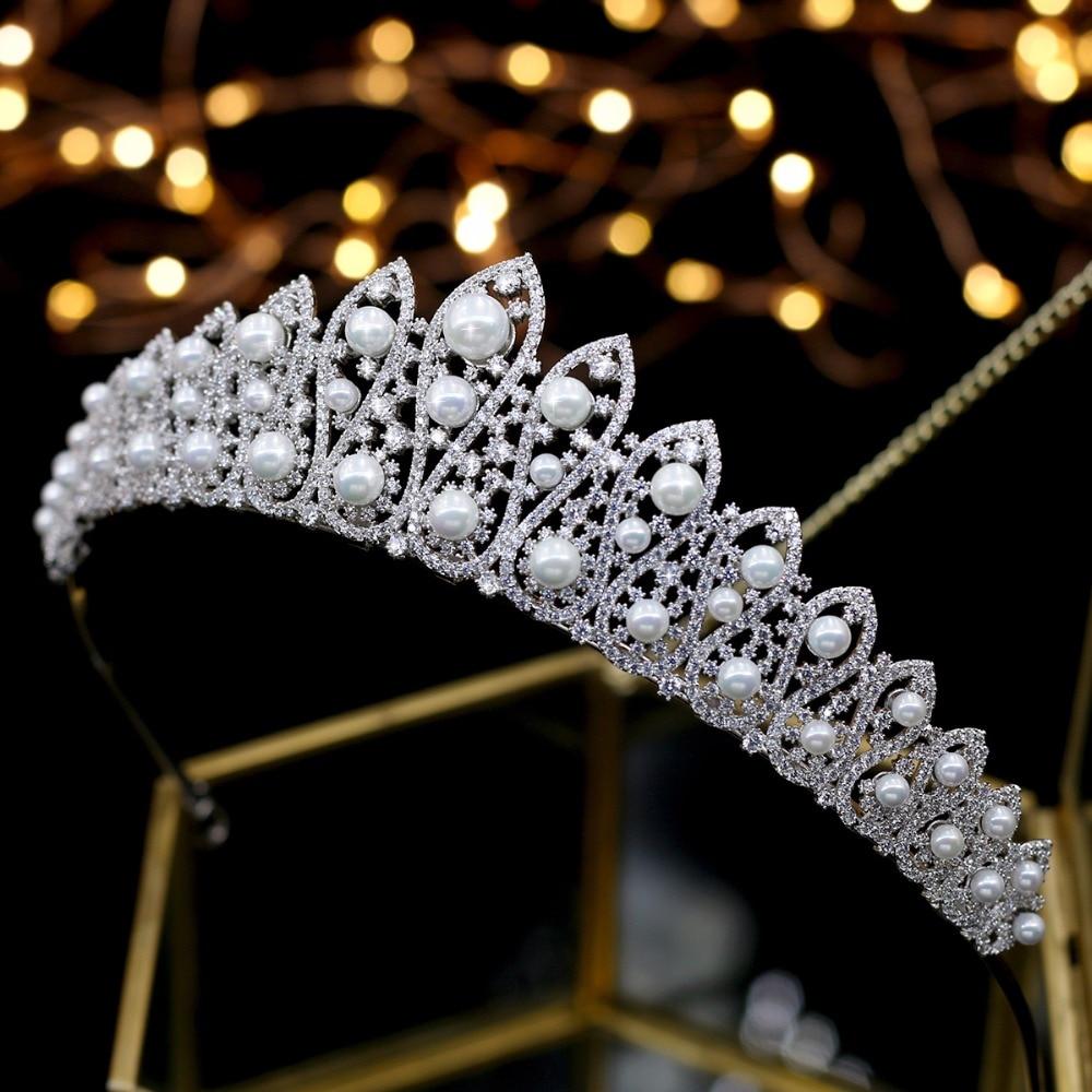 ASNORA coroa de noiva Wedding Tiara nupcial Bridal Crowns Wedding Hair Accessories Hair Jewelry Quecess Tiaras Pearls Zircon