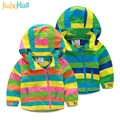 2017 New Children's Hooded Jackets Rainbow Striped Kids Coats Fashion Long Sleeve Boy and Girls Outwear 24M-10T CMB441