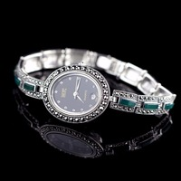 Limited Edition Classic S925 Silver Pure Silver Watch Green Jade Bracelet Watch Thailand Process Rhinestone Bangle Dresswatch