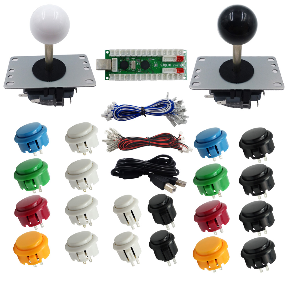 SJ@JX Arcade Game 2 Player Controller Button Joystick Encoder Kit DIY Part for PC MAME Raspberry Pi Retro
