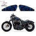 Motocicleta Azul Crânio Chama Decalque Decalques Do Tanque de Combustível Adesivos Para Sportster XL883C XL883R XL883N XL1200N XL1200V XL1200X XL1200C