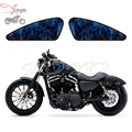 Motorcycle Blue Skull Flame Decal Fuel Tank Decals Stickers For Sportster XL883N XL883R XL883C XL1200N XL1200V XL1200X XL1200C