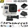 "[2X Batteries+Charger] Original Real 4K 24fps 4K Action camera  WiFi 2.0"" 170D pro underwater Helmet go waterproof camera Cam"