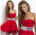 2017 New Pretty Girl's Red Chiffon Sweetheart Crystal A-Line Short/Mini Dress Formal Gown robe de cocktail Dresses Custom Size