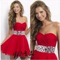 2017 Nueva Pretty Girl Rojo de Gasa Cristalino Del Amor Una Línea Corta/Mini Vestido Formal robe de Vestidos de cóctel de Tamaño personalizado