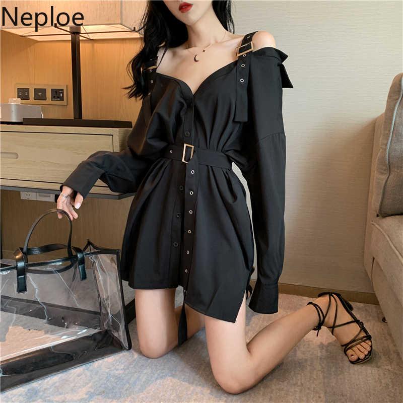 Neploe קוריאני אופנה סקסית כבוי כתף חולצות חולצה ארוך שרוול חולצה נשים לבן שחור טוניקת חולצות שרוכים Blusas בגדים
