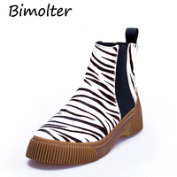 Bimolter New Women Ankle Boots Warm Horse Hair High Heels Shoes Woman Animal Prints Platforms Casual Party Boots Platform NB072