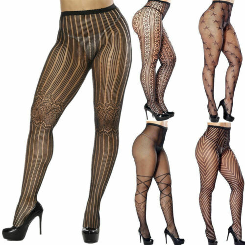 Hirigin Women's Pantyhose Tights Fishnet Mesh Stockings Underwear Lace Sheer Plus Size