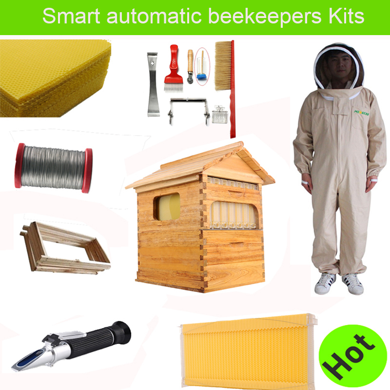 Free ship smart automatic honey flow hive set for honey bee hive honeycomb 7 frames beekeeping
