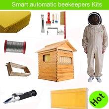 Freies schiff intelligente automatische honig fluss hive set für honey bee hive honeycomb 7 rahmen bienenzucht werkzeuge bee kleid anzug hive fluss