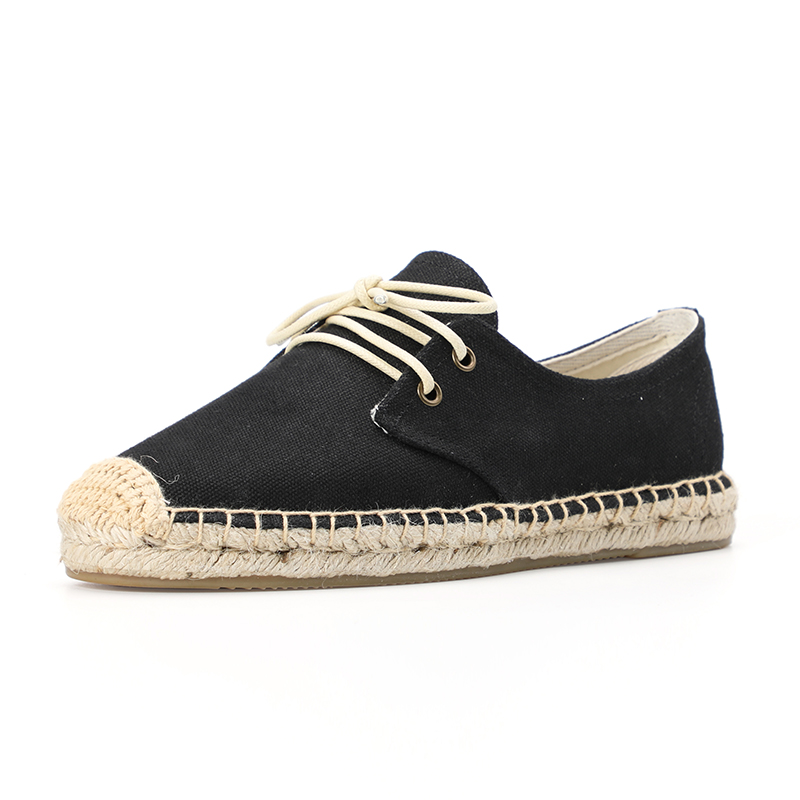 Black color women flat lace up espadrilles sneakersBlack color women flat lace up espadrilles sneakers